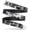 Batman Black Silver Seatbelt Belt - Batman Poses & Bat Shield Sketch White/Black Webbing