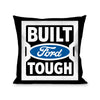 Pillow - THROW - BUILT FORD TOUGH Logo2 Black White Blue