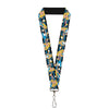 "Lanyard - 1.0"" - Alice in Wonderland Poses Clock Bottle Diamond Stripe Black White Blues"