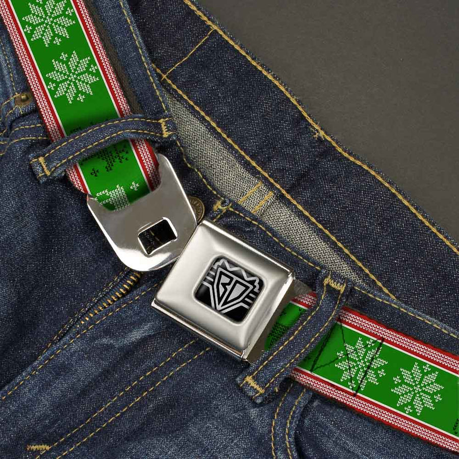 BD Wings Logo CLOSE-UP Full Color Black Silver Seatbelt Belt - Christmas Stitch Moose/Snowflakes Red/Green Webbing