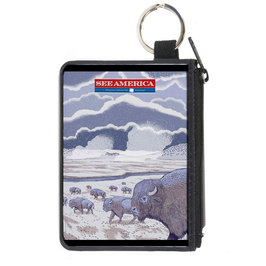 Canvas Zipper Wallet - MINI X-SMALL - SEE AMERICA-YELLOWSTONE Bison Herd Grays Tans