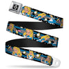 Alice Keyhole Full Color Black White Seatbelt Belt - Alice in Wonderland Poses/Clock/Bottle Diamond/Stripe Black/White/Blues Webbing