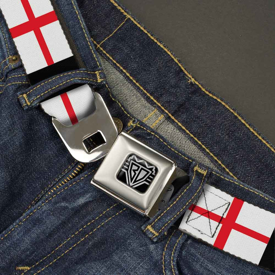BD Wings Logo CLOSE-UP Full Color Black Silver Seatbelt Belt - England Flags Webbing