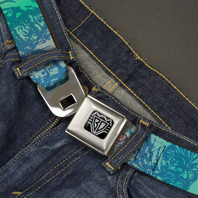 BD Wings Logo CLOSE-UP Full Color Black Silver Seatbelt Belt - Retro Monster Aqua Webbing