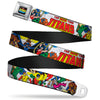 THE NEW TEEN TITANS Logo Full Color Black Red Blue Yellow Seatbelt Belt - THE NEW TEEN TITANS Issue #1 Superhero Cover Poses White Webbing