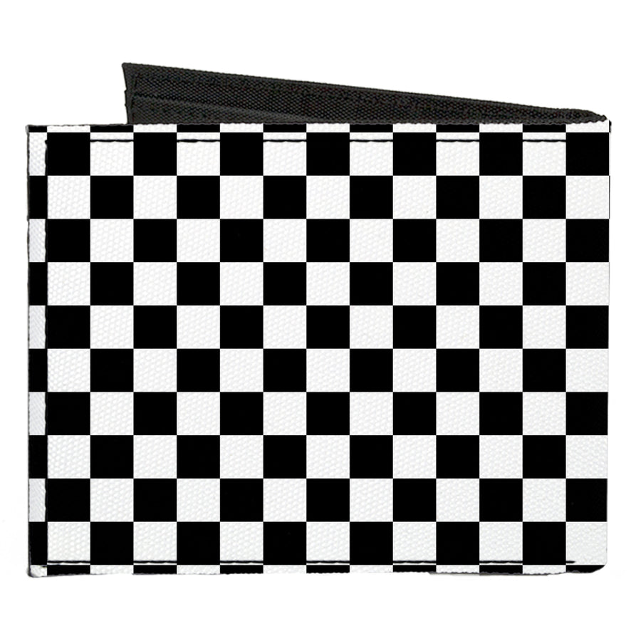 Canvas Bi-Fold Wallet - Checker Black White