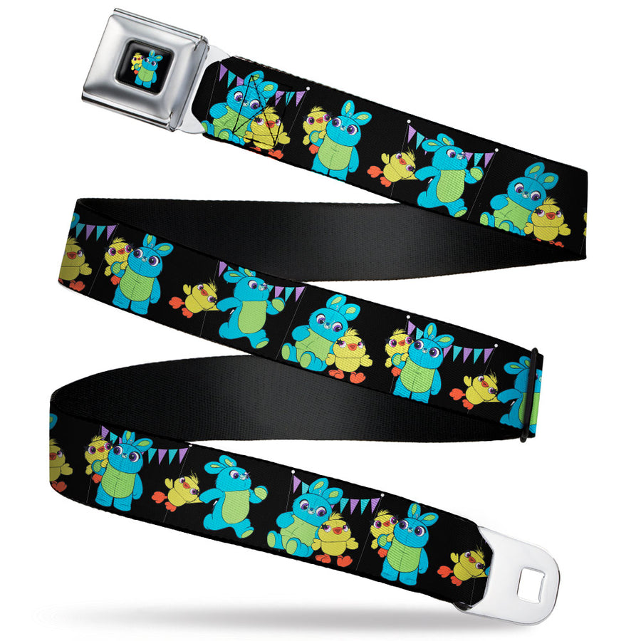Toy Story Ducky and Bunny Pose Full Color Black Seatbelt Belt - Toy Story Ducky and Bunny 2-Poses/Flags Black/Purple/Blue Webbing