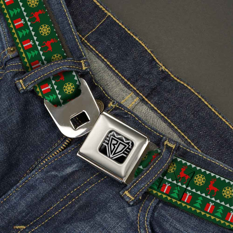 BD Wings Logo CLOSE-UP Full Color Black Silver Seatbelt Belt - Christmas Sweater Stitch Green/White/Gold/Red Webbing