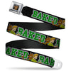 Scooby Doo Face Full Color Black Seatbelt Belt - Scooby Doo & Shaggy Pose/BAKED Black/Green Webbing
