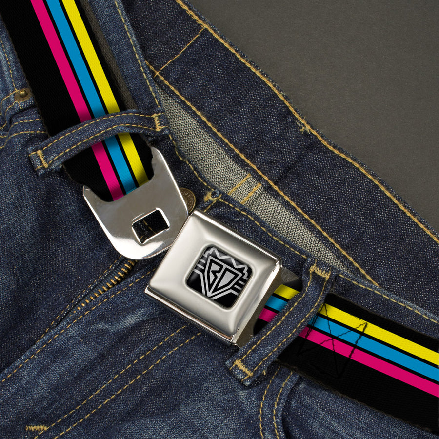 BD Wings Logo CLOSE-UP Full Color Black Silver Seatbelt Belt - Racing Stripes Black/Yellow/Blue/Pink Webbing
