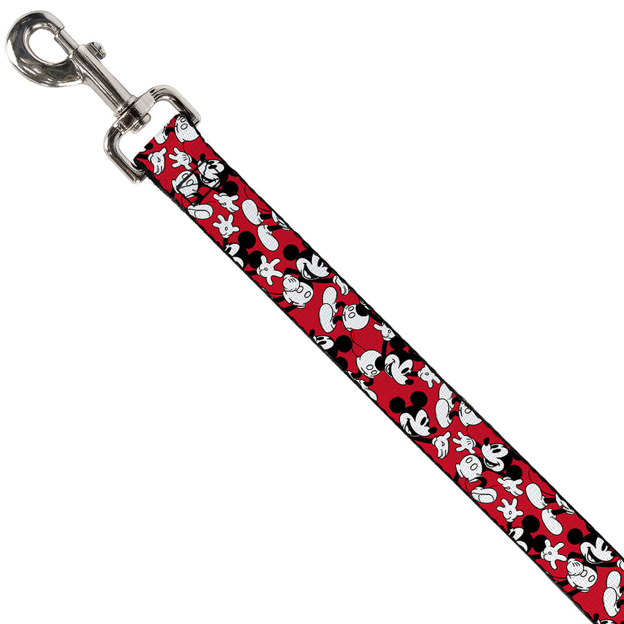 Dog Leash - Mickey Mouse Poses Scattered Red/Black/White