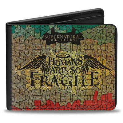 Bi-Fold Wallet - SUPERNATURAL-HUMANS ARE SO FRAGILE Stained Glass Black Greens Yellows Red