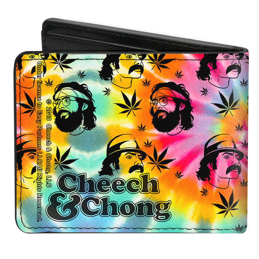 Bi-Fold Wallet - CHEECH & CHONG Caricature Faces Pot Leaves Scattered Tie Dye Multi Color Black