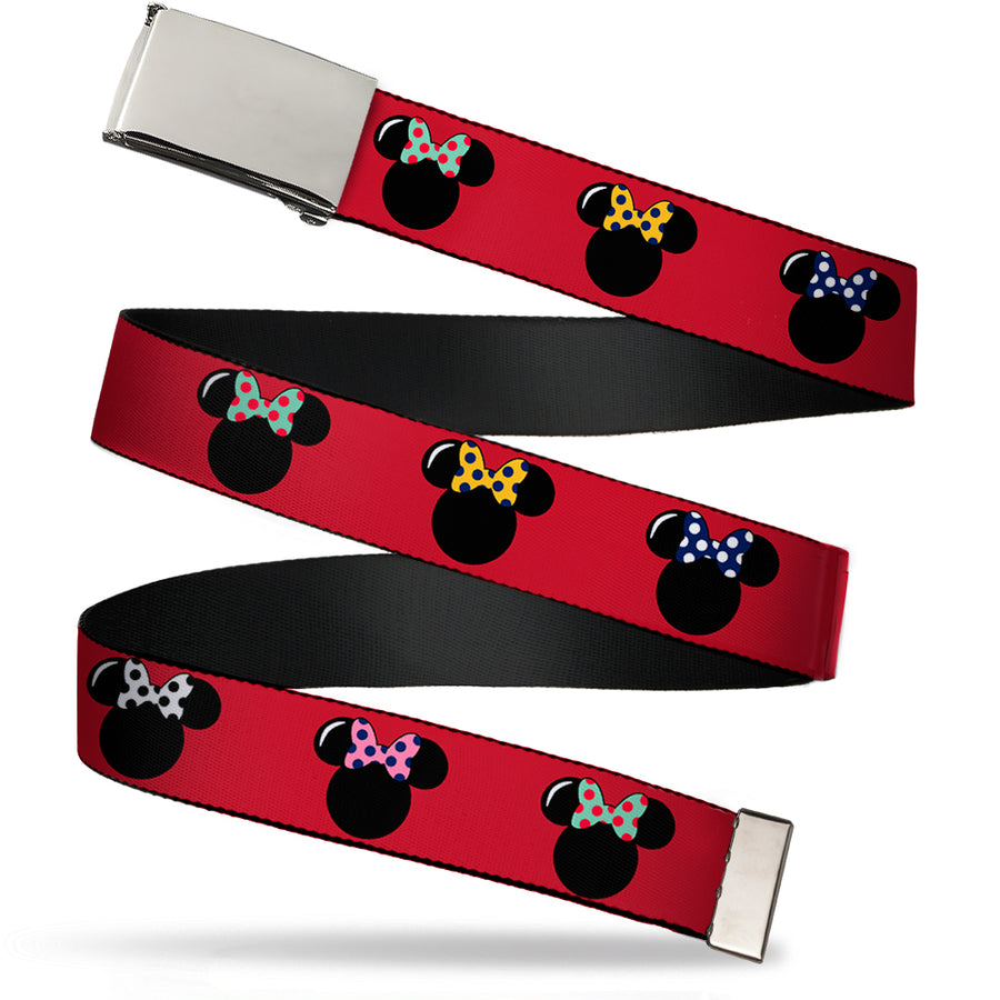 Chrome Buckle Web Belt - Minnie Mouse Silhouette Red/Black/Polka Dot Webbing