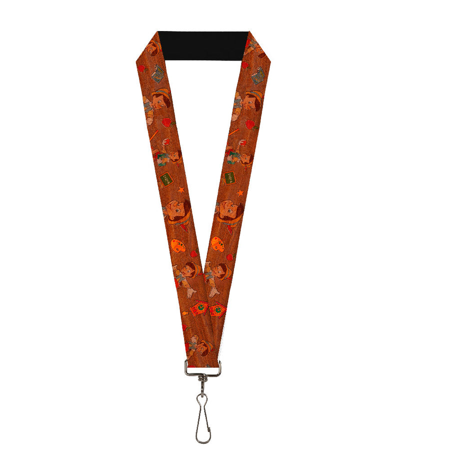 "Lanyard - 1.0"" - Pinocchio Poses Black White Multi Color"