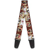 Guitar Strap - Tasmanian Devil Expressions Brown