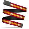 Black Buckle Web Belt - The Flash Logo11/Stripe Burgundy/Black/Gold/White Webbing