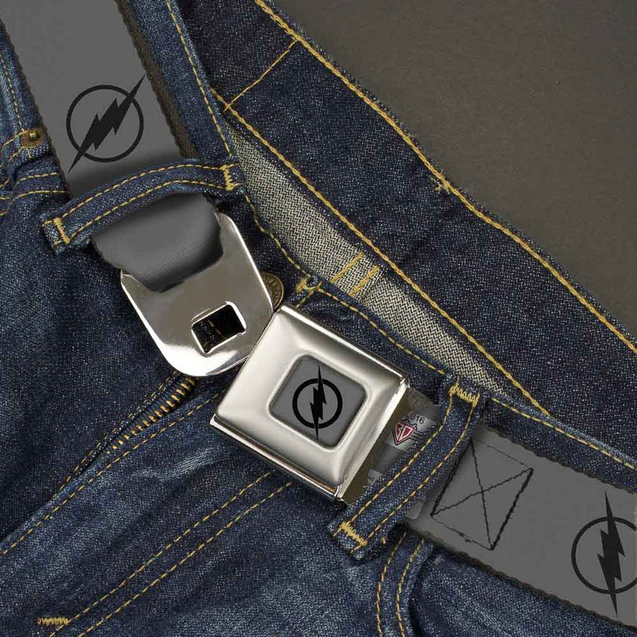 Reverse Flash Logo Full Color Gray Black Seatbelt Belt - Reverse Flash Logo Gray/Black Webbing