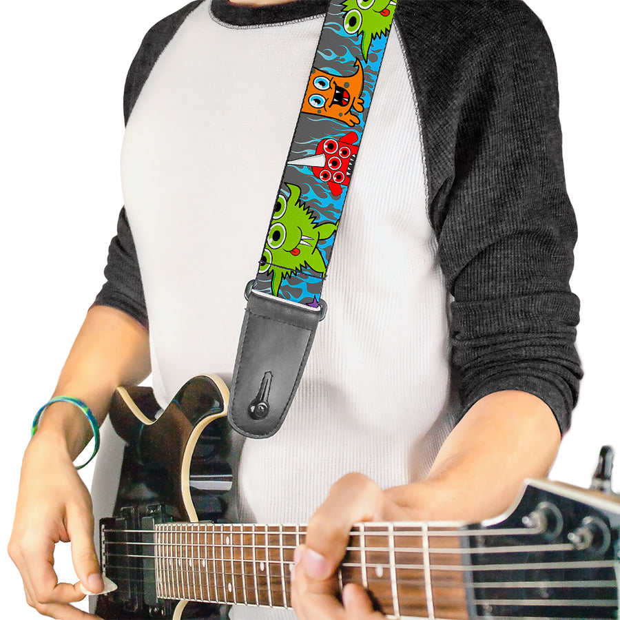 Guitar Strap - Cute Monsters Gray Flame Blue