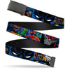 Black Buckle Web Belt - Batman & Joker Comic Strip Webbing