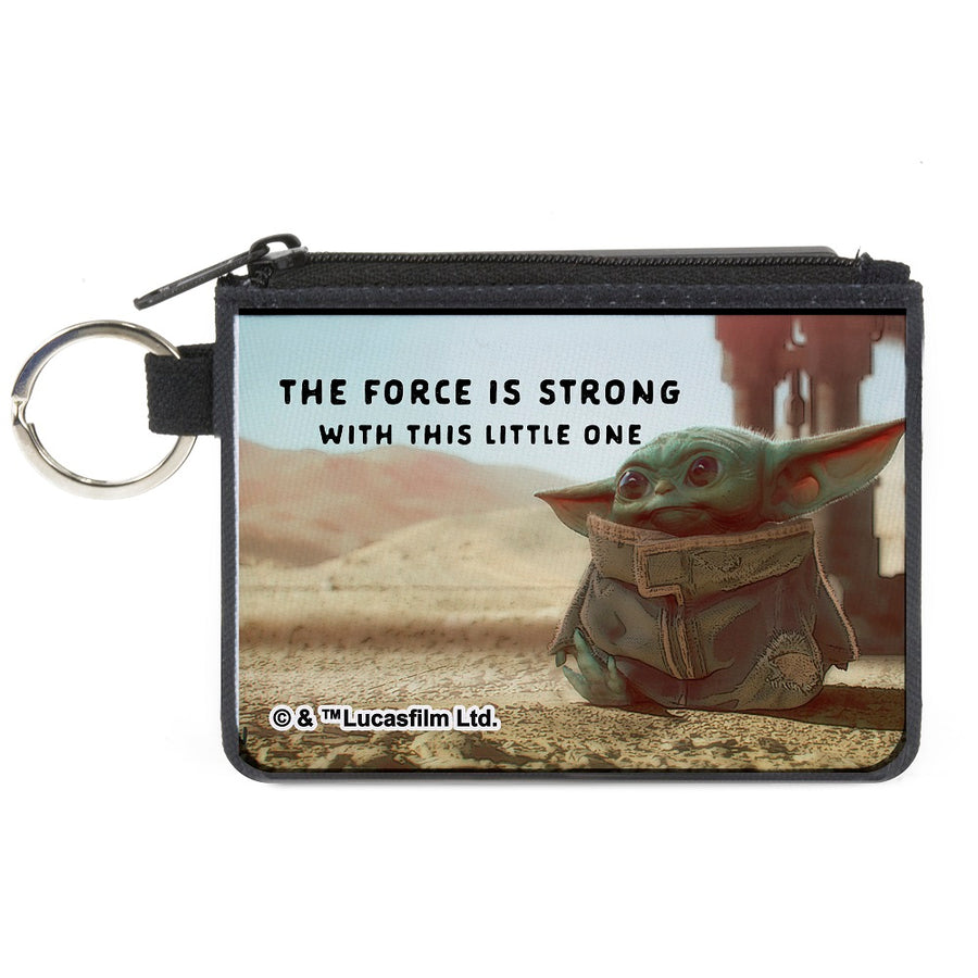 Canvas Zipper Wallet - MINI X-SMALL - Star Wars The Child Full Body Pose THE FORCE IS STRONG WITH THIS LITTLE ONE Vivid