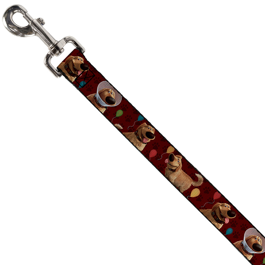Dog Leash - Dug 4-Poses/Balloons/Paw Print Reds