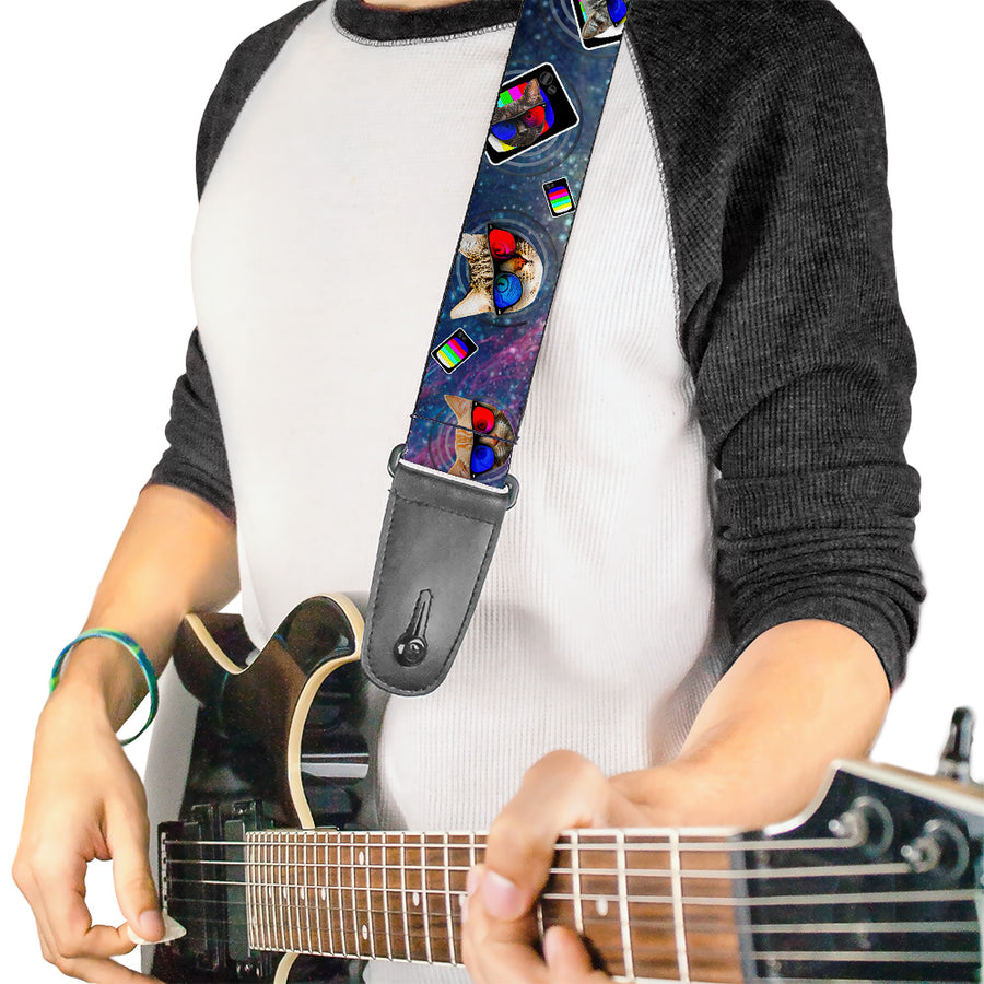 Guitar Strap - 3-D TV Cats in Space