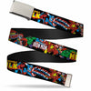 Chrome Buckle Web Belt - Marvel Characters Stacked w/Character Text Logos Webbing
