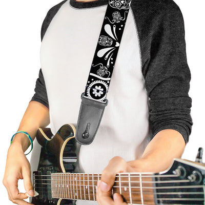 Guitar Strap - Sugar Skulls Black White
