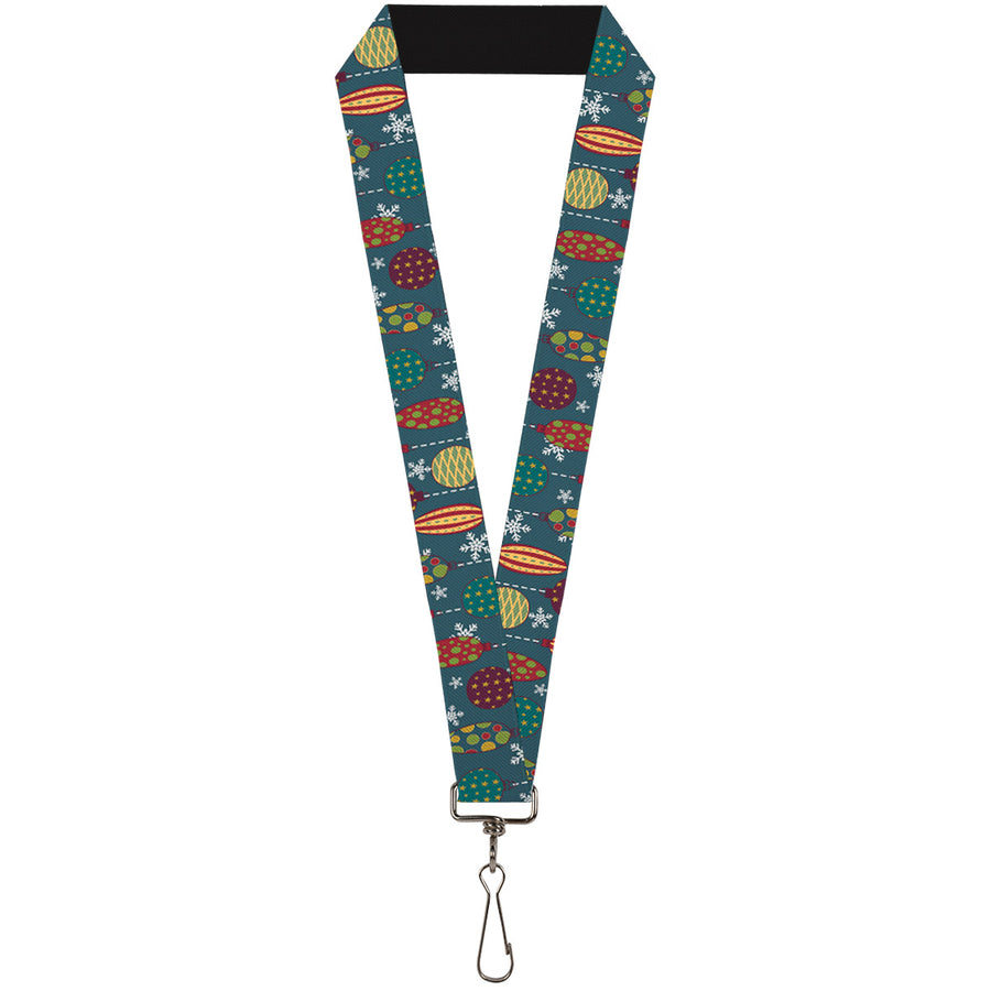 "Lanyard - 1.0"" - Christmas Ornaments Snowflakes Blue White Multi Color"