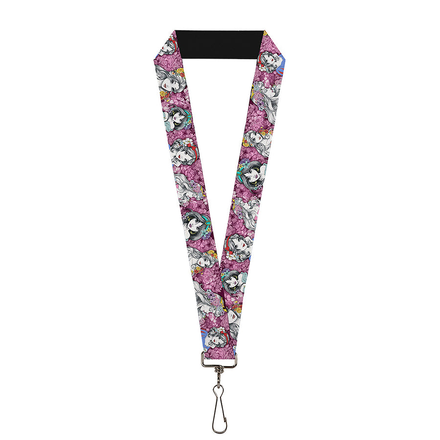 "Lanyard - 1.0"" - Princess Sketch Poses Floral Collage Pinks Grays"