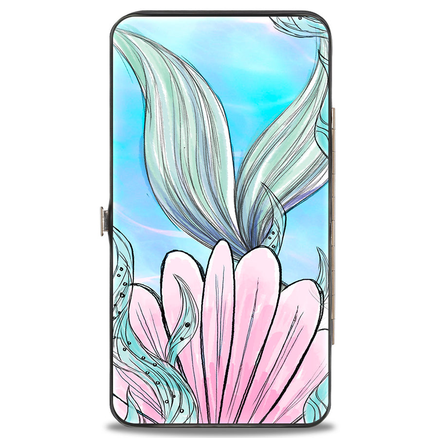 Hinged Wallet - The Little Mermaid Ariel Over Shoulder Sketch Pose + Tail Shells Kelp Blues Pinks