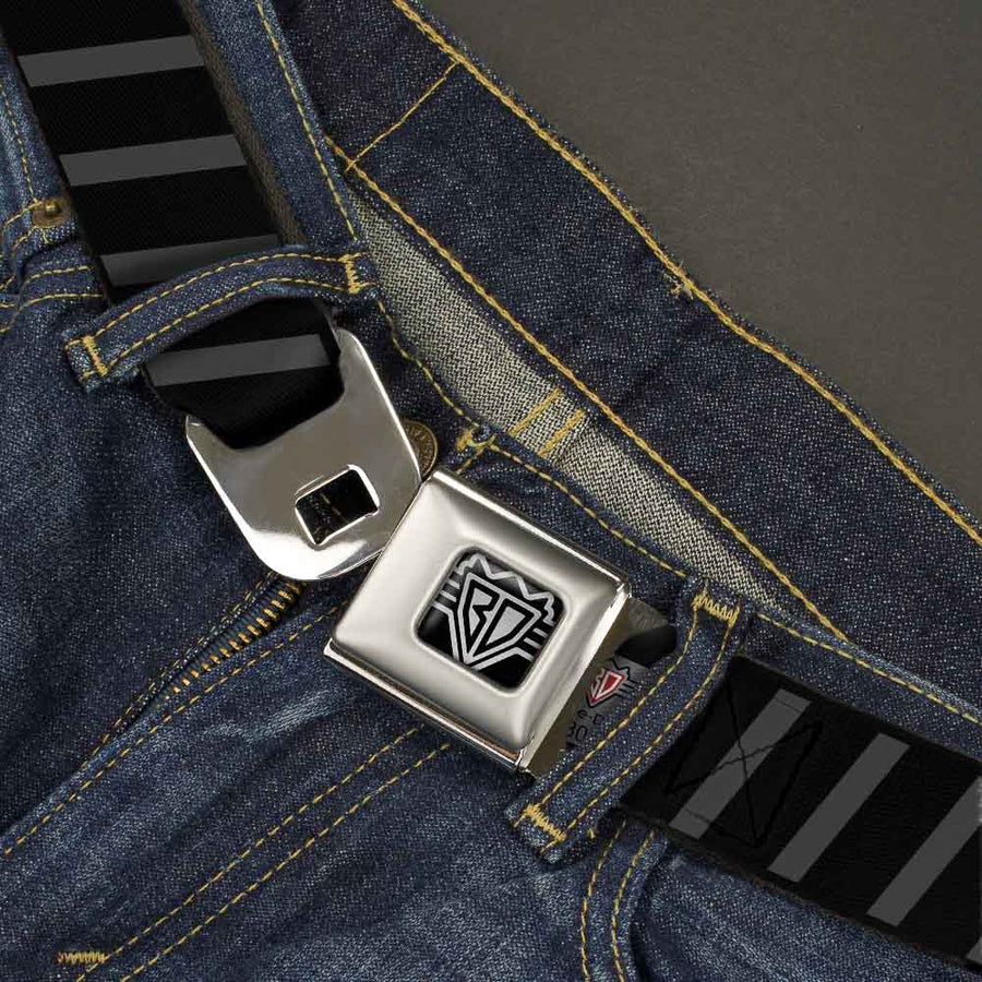 BD Wings Logo CLOSE-UP Full Color Black Silver Seatbelt Belt - Diagonal Stripes Black/Gray Webbing