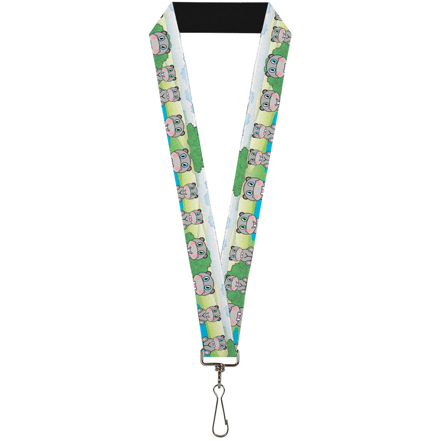 "Lanyard - 1.0"" - Hippo Cartoon"