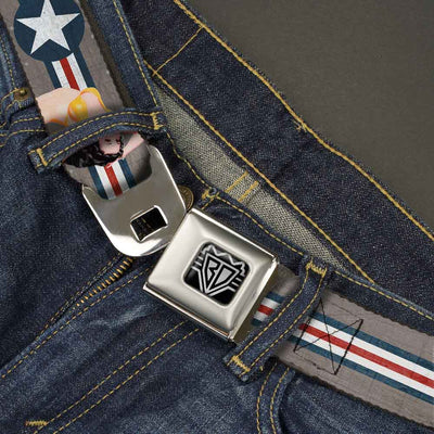 BD Wings Logo CLOSE-UP Full Color Black Silver Seatbelt Belt - Pin Up Girl Poses Star & Stripes Gray/Blue/White/Red Webbing