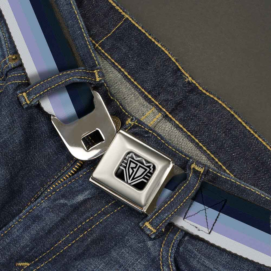 BD Wings Logo CLOSE-UP Full Color Black Silver Seatbelt Belt - Spectrum Blue Webbing