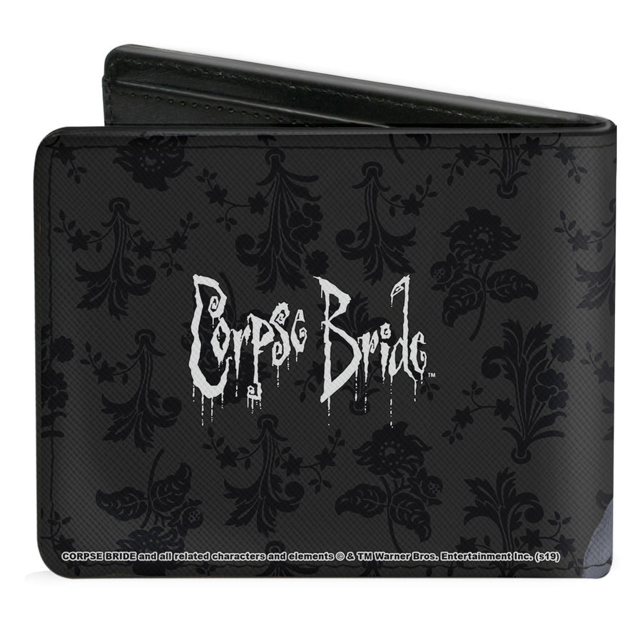Bi-Fold Wallet - Corpse Bride Emily Victor Pose + Logo Grays Black White