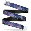 URSULA Full Color Purple-Fade White Seatbelt Belt - Ursula 4-Poses/Shells/Ivy/Bubbles Purples/Blues Webbing