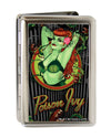 Business Card Holder - LARGE - POISON IVY Bombshell Pose Stripe FCG Black Gray Greens Reds