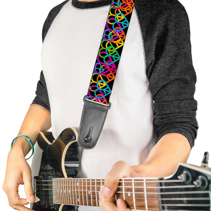 Guitar Strap - Peace Hearts Stacked Black Neon