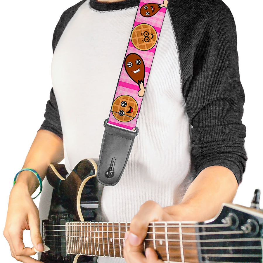 Guitar Strap - Fried Chicken & Waffles Plaid Pinks