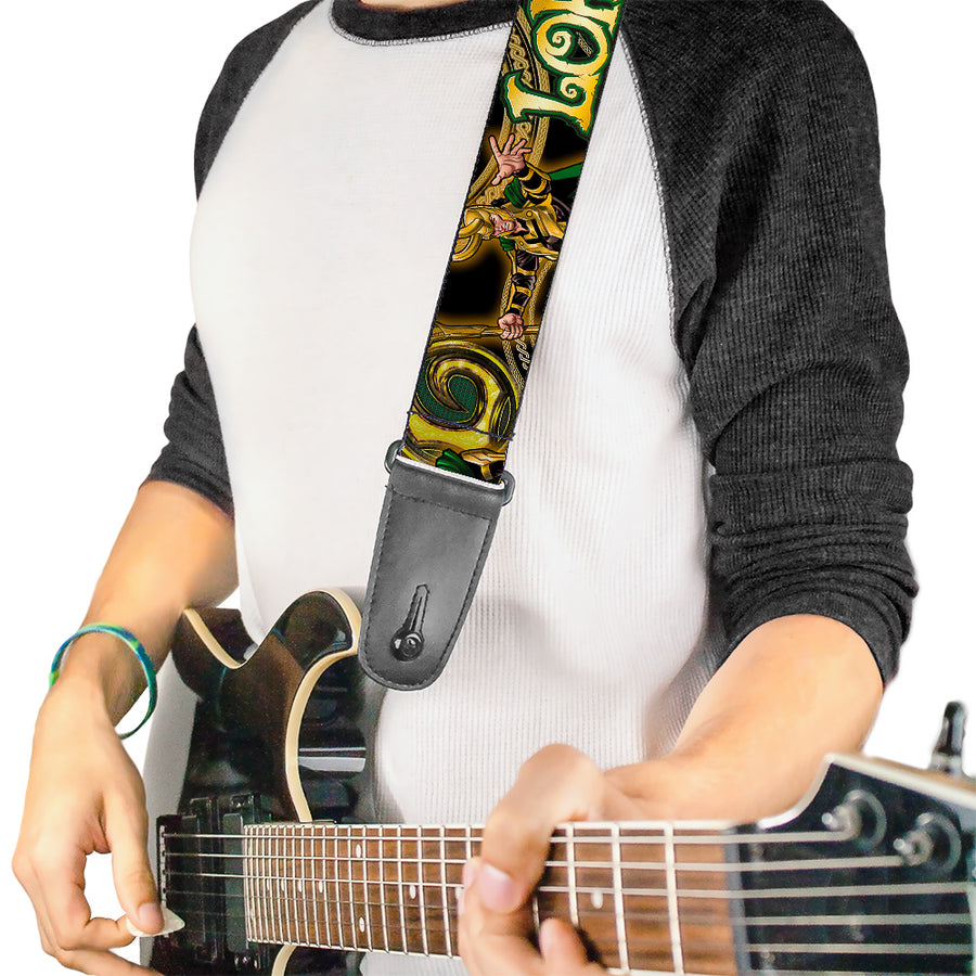 MARVEL UNIVERSE Guitar Strap - LOKI Poses Black Gold Green