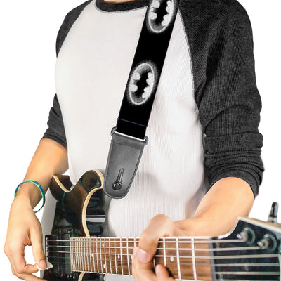 Guitar Strap - Cloudy Bat Signal Black White