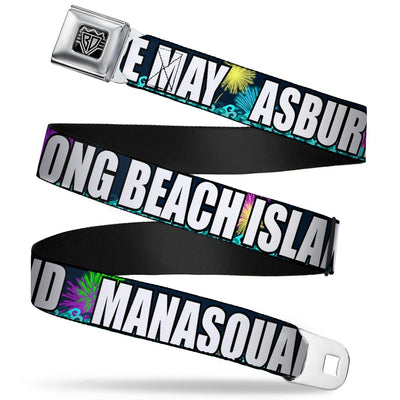 BD Wings Logo CLOSE-UP Full Color Black Silver Seatbelt Belt - New Jersey Shore Towns Black/Multi Color/White Webbing