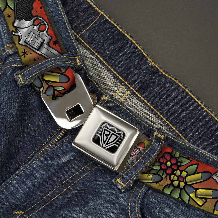 BD Wings Logo CLOSE-UP Full Color Black Silver Seatbelt Belt - Born to Raise Hell CLOSE-UP Red Webbing