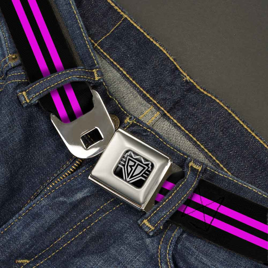 BD Wings Logo CLOSE-UP Full Color Black Silver Seatbelt Belt - Stripe Black/Pink Webbing