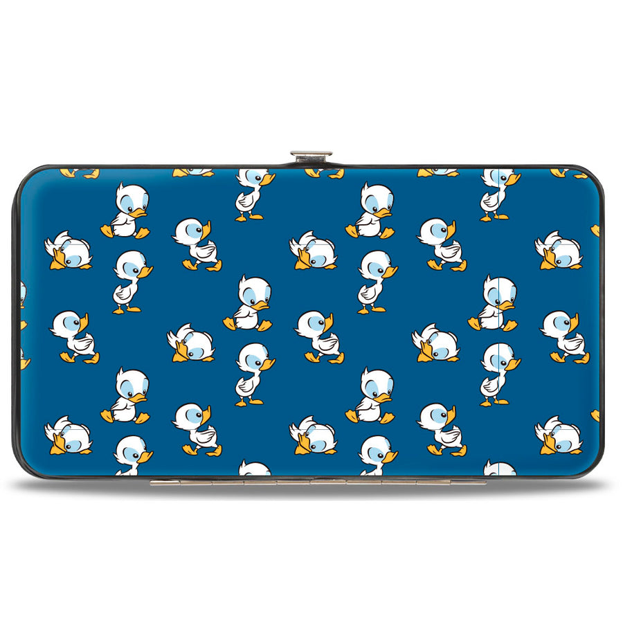 Hinged Wallet - Lilo & Stitch Duckling Poses Scattered Blue