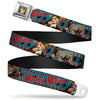 Harley Quinn Bombshell Pin-Up Face Full Color Seatbelt Belt - Harley Quinn Bombshell Pin-Up Pose/Joker Card/Suits Blue/White/Red/Black Webbing