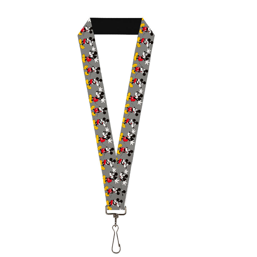 "Lanyard - 1.0"" - Mickey Mouse w Glasses Poses Gray"