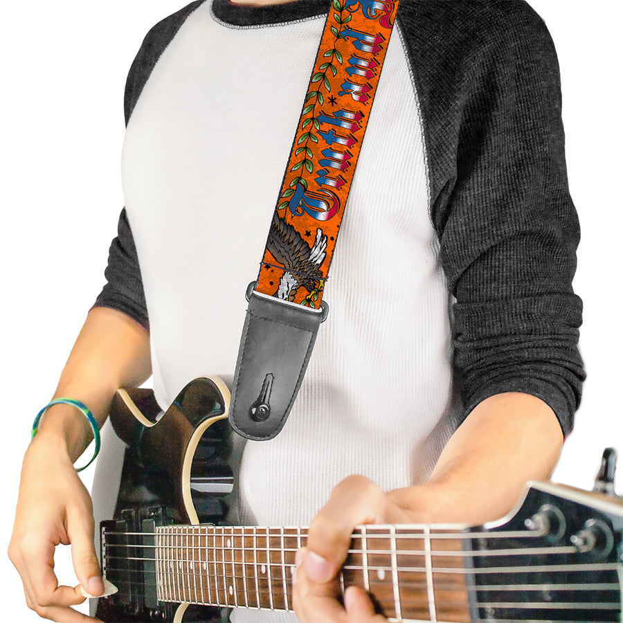 Guitar Strap - Truth and Justice Orange